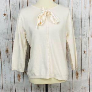 Apostrophe Ivory Bow Button Down Cardigan Sweater